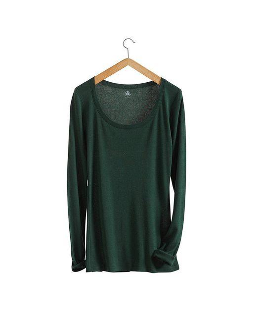 Petit Bateau | Green Women's Long-sleeved, Scoop Neck Tee In Light Cotton | Lyst