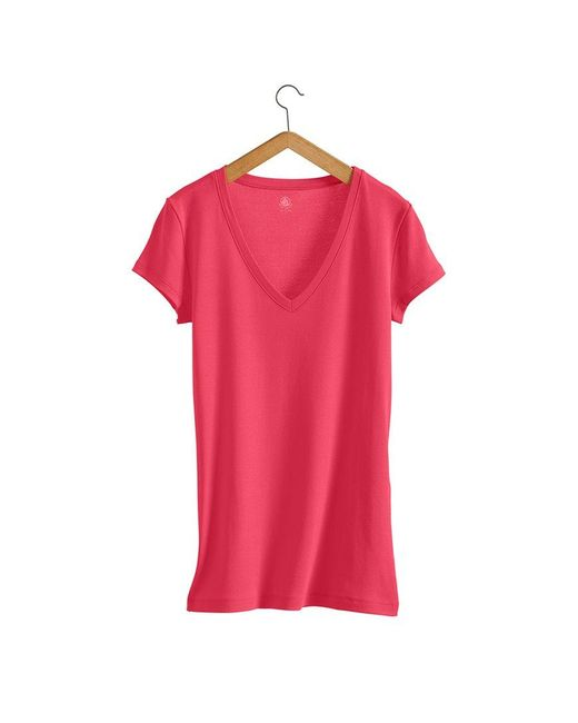 Petit Bateau | Pink Women's V-neck Tee In Loose Cotton | Lyst