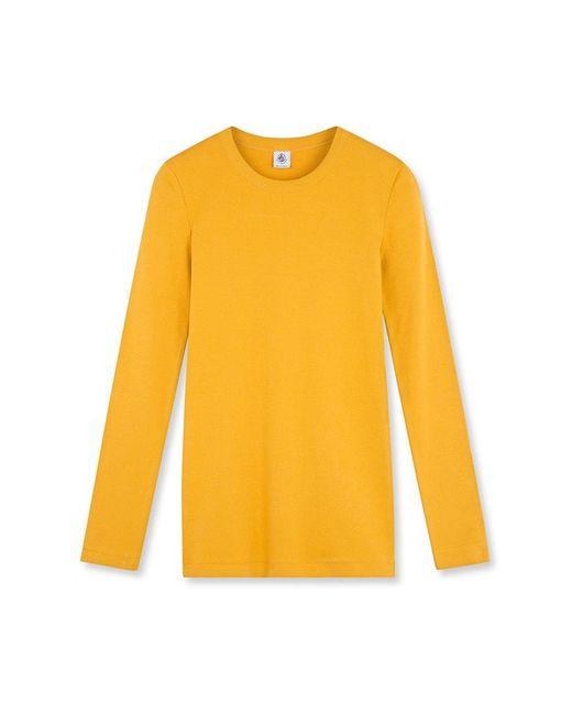 Petit Bateau | Yellow Women's Iconic Plain Long-sleeved Round Neck T-shirt | Lyst