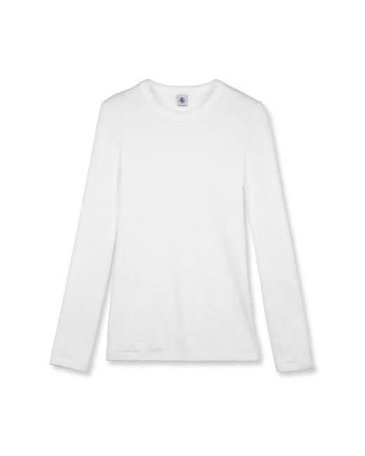 Petit Bateau | White Women's Iconic Plain Long-sleeved Round Neck T-shirt | Lyst