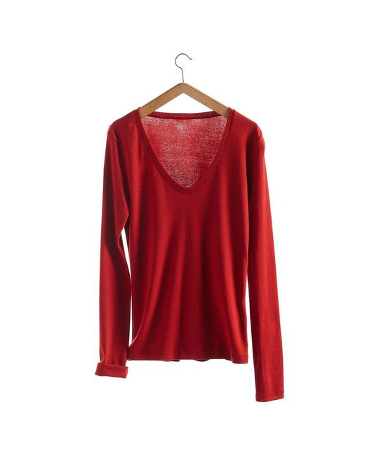Petit Bateau   Red Women's Long-sleeved, V-neck Tee In New Cotton   Lyst