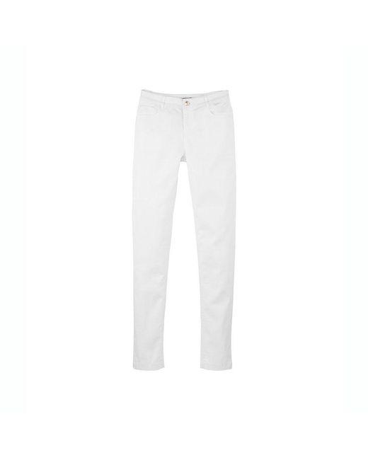 Petit Bateau | White Women's Slim 5-pocket Pants In Stretch Cotton Serge | Lyst