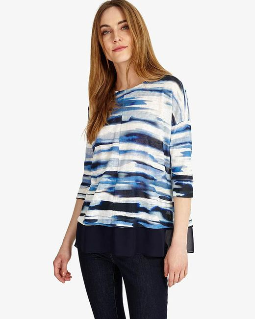 Phase Eight | Blue Patricia Painted Stripe Top | Lyst
