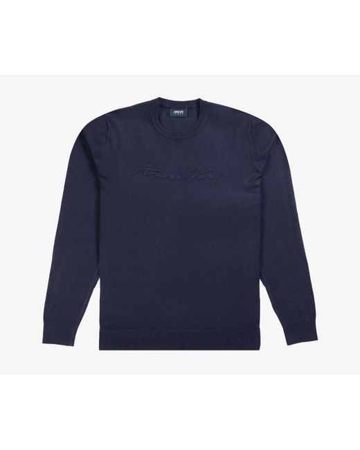 Armani Jeans - Blue Front Signature Logo Knit Navy for Men - Lyst