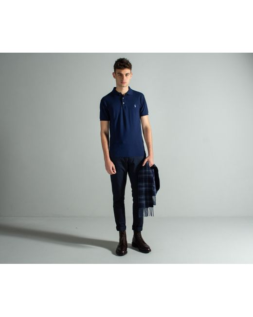 3f79d83f Polo Ralph Lauren - Blue Slim Fit Stretch Mesh Polo French Navy for Men -  Lyst ...