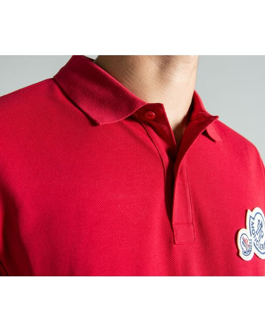 7c6e7dcfde966 ... Moncler - Double Logo 2-button Polo Red for Men - Lyst ...