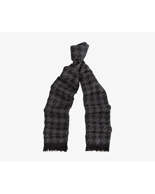 Canali - Gray Houndstooth Lightweight Wool Scarf Black & Grey - Lyst