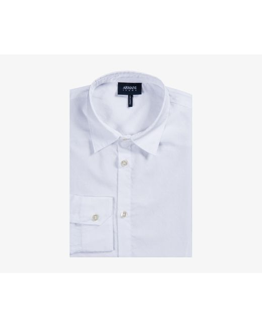 Armani Jeans - Slim Fit Embroidered Line Design Shirt White for Men - Lyst