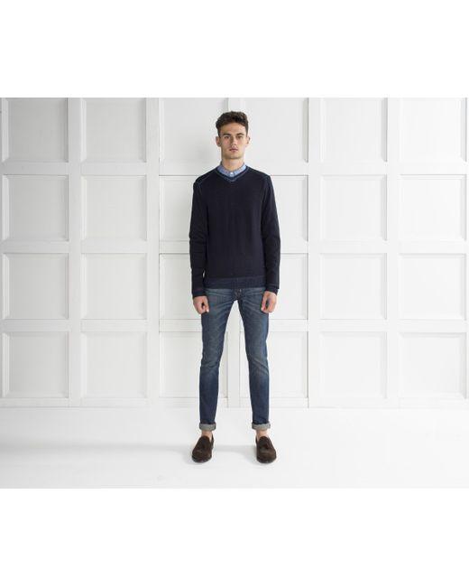 Armani | Blue V-neck Knit Dark Navy for Men | Lyst