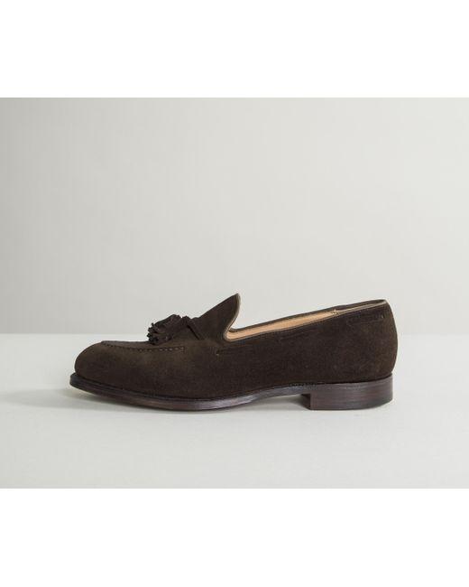 Crockett and Jones - 'cavendish' Calf Suede Loafers Dark Brown for Men - Lyst