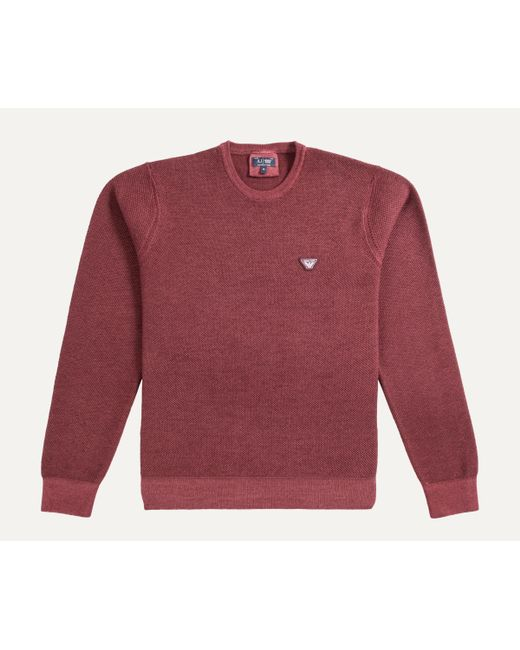 Armani | Red Crew Neck Honeycomb Knit Burgundy for Men | Lyst