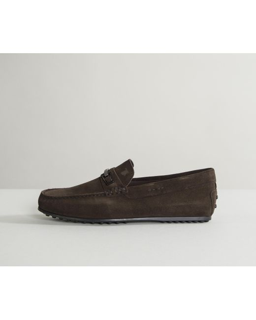 Tod's - Brown City Sole Bar Detailed Suede Driving Shoes Chocolate for Men - Lyst