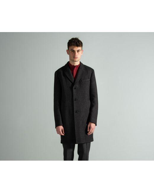 7b7a491a7bf1 ... BOSS -  shawn7  Check Virgin-wool Blend Overcoat Dark Brown for Men ...