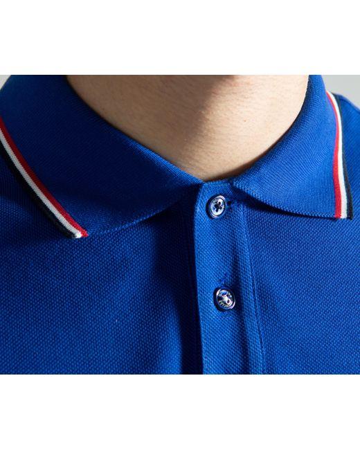 b430ef84c70cf ... Moncler - 3-button Polo Royal Blue for Men - Lyst ...