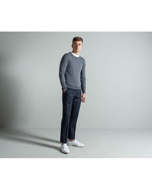 BOSS - Gray 'leno-b' Classic Crew Neck Knit Mid Grey for Men - Lyst