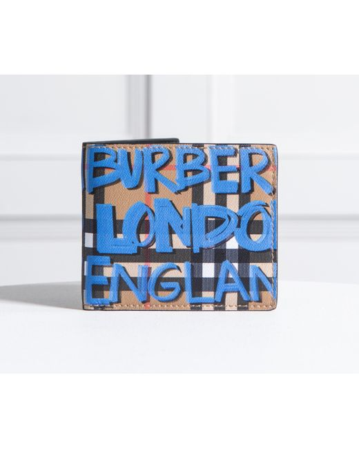 Burberry - Graffiti Print Vintage Check Bifold Wallet Blue for Men - Lyst