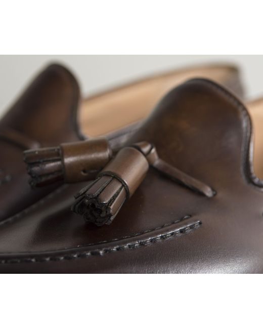 cffe075cdec ... Crockett and Jones -  cavendish  Burnished Calf Leather Loafers Dark  Brown for Men ...