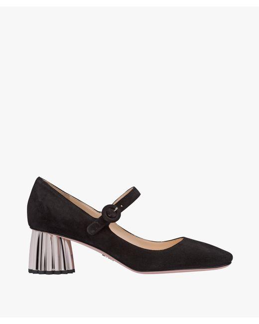 Prada - Black Suede Mary Jane Pumps - Lyst