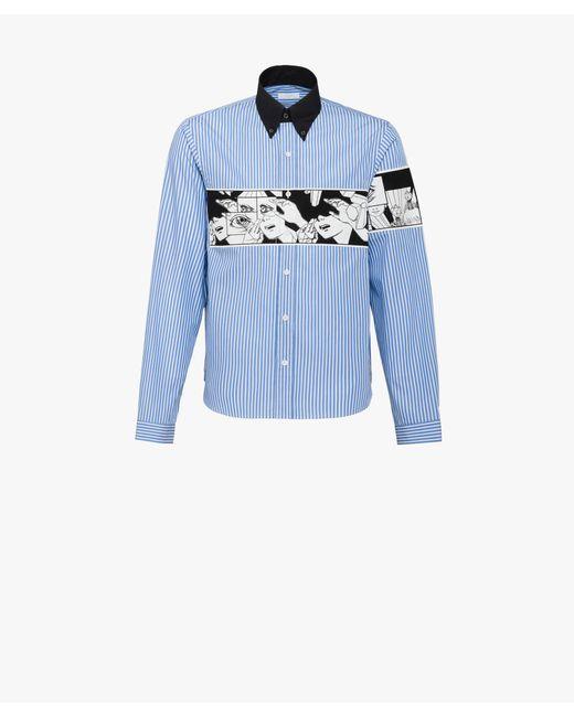 Prada - Blue Cotton Poplin Shirt for Men - Lyst