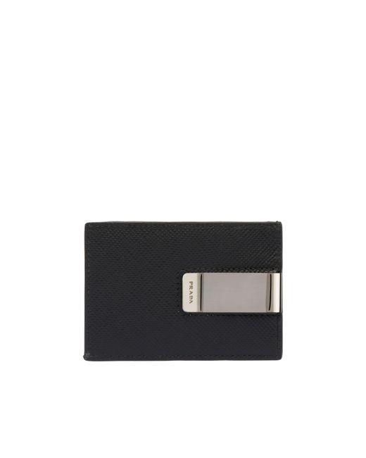 3440ae4a1d7 ... Prada - Black Saffiano Leather Card Holder for Men - Lyst ...