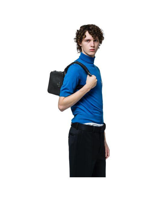 9ab70dbf8e25 Prada - Black Saffiano Leather Bandoleer Bag for Men - Lyst ...