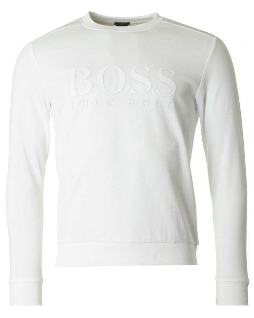 BOSS Athleisure - White Salbo Big Logo Crew Neck Sweatshirt for Men - Lyst