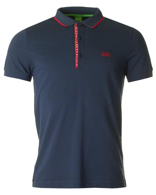 BOSS Athleisure | Blue Paule 4 Placket Logo Polo for Men | Lyst