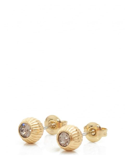 Ted Baker | Metallic Aubree Plisse Crystal Ball Earrings | Lyst