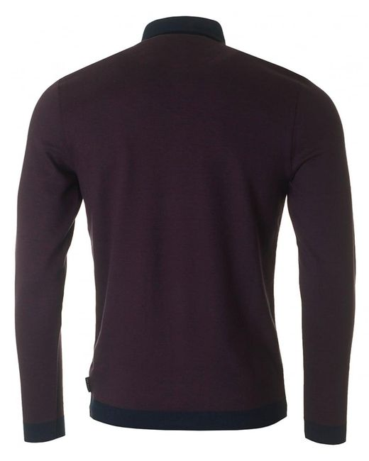 Ted Baker Ronaldo Contrast Collar Polo Shirt In Purple For