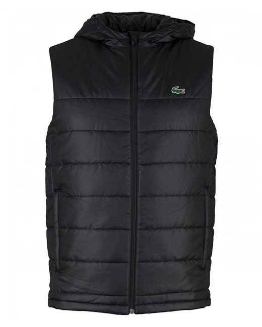 3aef04173701 Lacoste Sport - Black Hooded Quilted Gilet for Men - Lyst ...