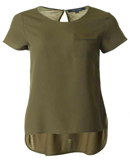 French Connection | Green Polly Plains One Pocket Top | Lyst