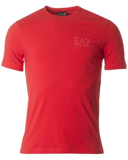 EA7 - Red Train Logo Back Crew Neck for Men - Lyst