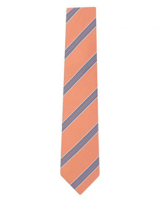 Paul Smith Orange Diagonal Mixed Width Stripe Tie for men