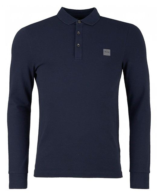 fc370eac BOSS by Hugo Boss - Blue Passerby Logo Pique Long Sleeved Polo for Men -  Lyst ...