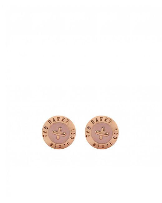 Ted Baker - Pink Eisley Enamel Mini Button Earrings - Lyst
