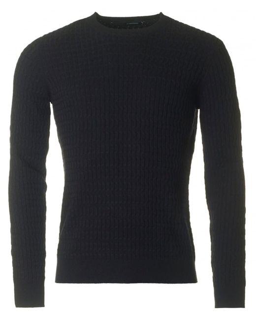 J.Lindeberg - Black Karl Cable Knit Crew Neck Knit for Men - Lyst