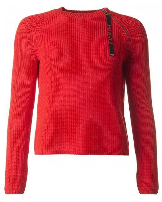 HUGO - Red Shailey Logo Zip Detail Jumper for Men - Lyst