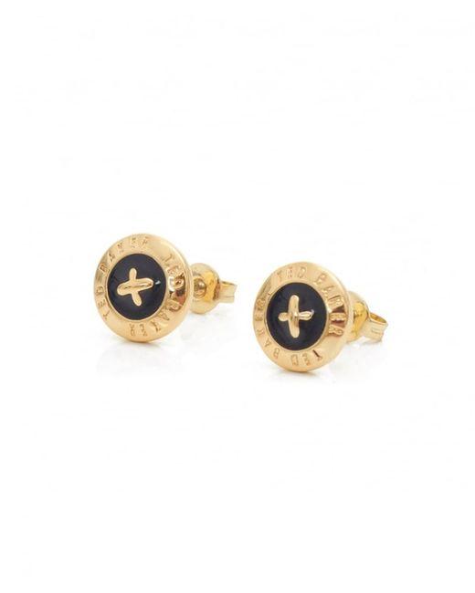 Ted Baker - Black Eisley Enamel Mini Button Earrings - Lyst