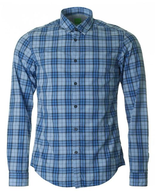 BOSS Athleisure - Blue C-briar Long Sleeved Checked Shirt for Men - Lyst