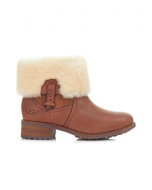 Ugg - Brown Chyler Leather Fold Over Boots - Lyst