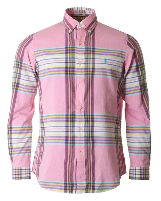Polo Ralph Lauren - Pink Brushed Cotton Checked Shirt for Men - Lyst