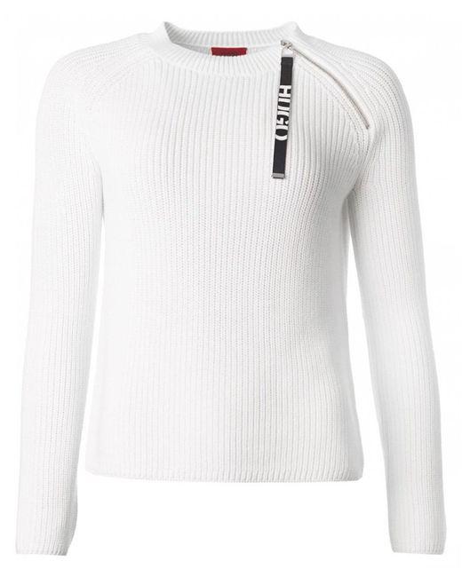 HUGO - White Shailey Logo Zip Detail Jumper - Lyst