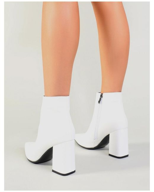 37110bb9a3 ... Public Desire - Empire Pointed Toe Ankle Boots In White - Lyst ...