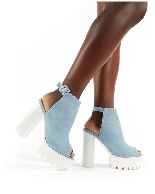 0f983af884d ... Public Desire - Jada Cleated Platform Block Heels In Blue Denim - Lyst  ...