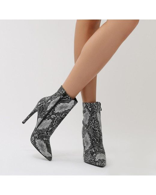 Public Desire | Multicolor Harlee High Shine Pointed Toe Ankle Boots In Snake | Lyst