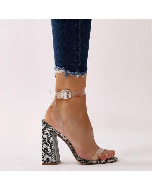 Public Desire Charlotte Clear Perspex High Heels in Faux Snake vIui71b8b
