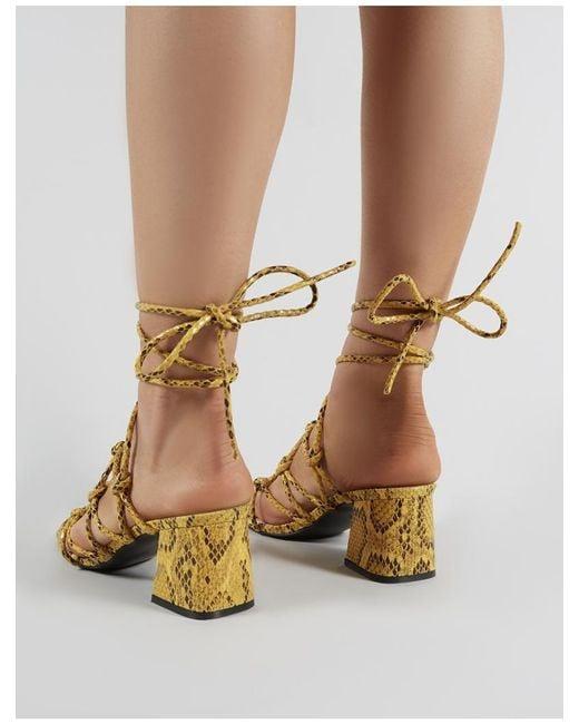 b26b28e952b ... Public Desire - Multicolor Freya Knotted Strappy Block Heeled Sandals  In Mustard Snakeskin - Lyst