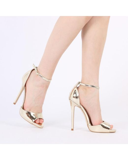 Public Desire | Blue Saydee Barely There Stilettos In Gold | Lyst
