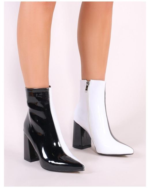 45df9fcb93e ... Public Desire - Chaos Contrast Pointed Toe Ankle Boots In Black And White  Patent - Lyst ...