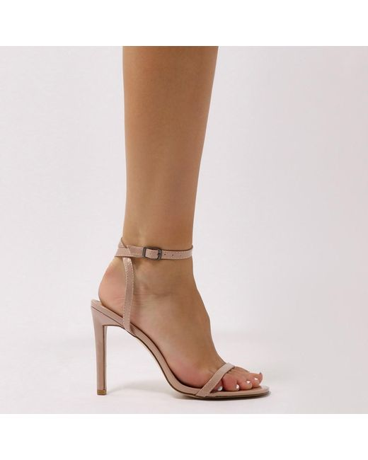 Public Desire Notion Squared Toe Barely There Heels in Patent t8Oofj4h